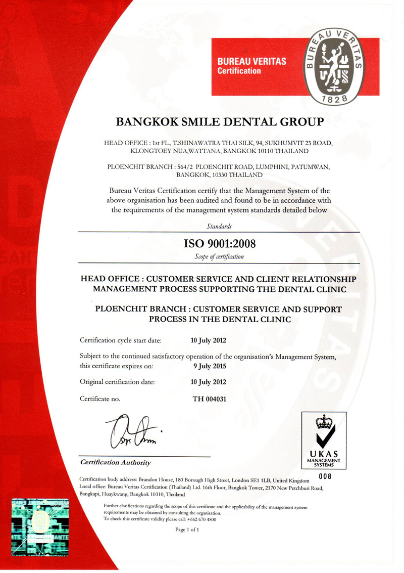 ISO 9001:2008 PROVISION OF DENTAL CLINIC SERVICE